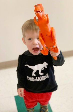 2-year-old_boy_with_t-rex_cadence_academy_preschool_steele_creek_charlotte_nc-293x450